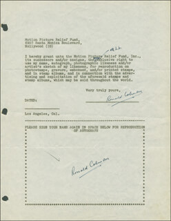 RONALD COLMAN - DOCUMENT DOUBLE SIGNED CIRCA 1946