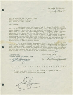 Autographs: ERROL FLYNN - DOCUMENT DOUBLE SIGNED 07/18/1946