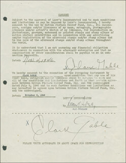 CLARK GABLE - DOCUMENT DOUBLE SIGNED 11/04/1946