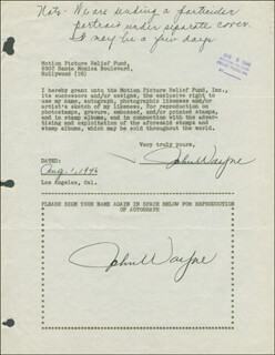 JOHN DUKE WAYNE - DOCUMENT DOUBLE SIGNED 08/01/1946