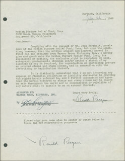 Autographs: PRESIDENT RONALD REAGAN - DOCUMENT DOUBLE SIGNED 07/22/1946
