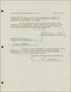 TYRONE POWER - DOCUMENT DOUBLE SIGNED 06/26/1946