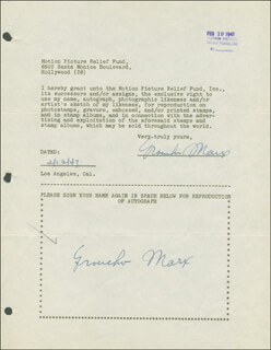 GROUCHO (JULIUS) MARX - DOCUMENT DOUBLE SIGNED 02/13/1947