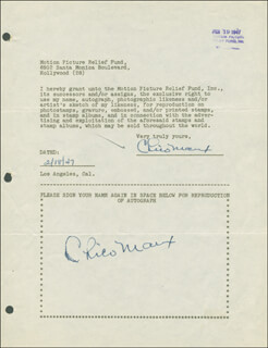 CHICO (LEONARD) MARX - DOCUMENT DOUBLE SIGNED 02/18/1947