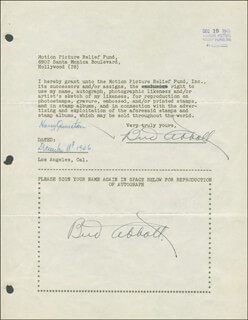 Autographs: ABBOTT & COSTELLO (BUD ABBOTT) - DOCUMENT DOUBLE SIGNED 12/18/1946