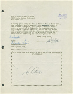 Autographs: ABBOTT & COSTELLO (LOU COSTELLO) - DOCUMENT DOUBLE SIGNED 12/18/1946