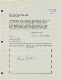 THOMAS MITCHELL - DOCUMENT DOUBLE SIGNED 10/08/1946