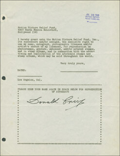 DONALD CRISP - DOCUMENT SIGNED 07/23/1946