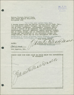 JEANETTE MacDONALD - DOCUMENT DOUBLE SIGNED 10/04/1946