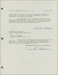 ANNE REVERE - DOCUMENT DOUBLE SIGNED 06/26/1946