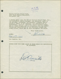 Autographs: LEO PANCHO CARRILLO - DOCUMENT DOUBLE SIGNED 10/08/1946
