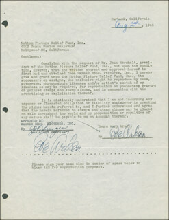 EVE ARDEN - DOCUMENT DOUBLE SIGNED 08/02/1946
