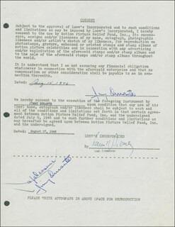 JIMMY SCHNOZZOLA DURANTE - DOCUMENT DOUBLE SIGNED 08/15/1946