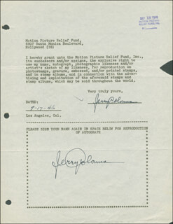 JERRY COLONNA - DOCUMENT DOUBLE SIGNED 09/17/1946