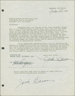 JACK CARSON - DOCUMENT DOUBLE SIGNED 07/18/1946