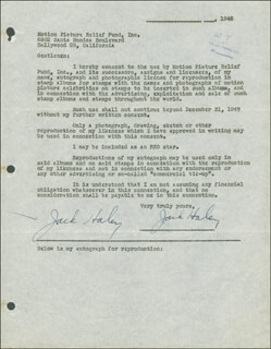 JACK HALEY SR. - DOCUMENT DOUBLE SIGNED 10/07/1946