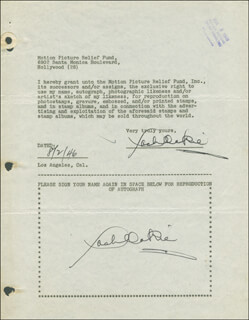 JACK OAKIE - DOCUMENT DOUBLE SIGNED 08/02/1946