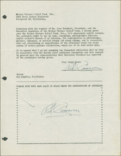 ROD CAMERON - DOCUMENT DOUBLE SIGNED CIRCA 1946