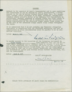 WALTER PIDGEON - DOCUMENT SIGNED 03/06/1947