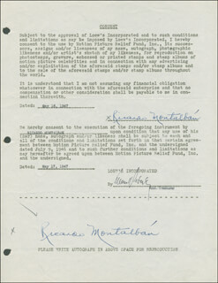 RICARDO MONTALBAN - DOCUMENT DOUBLE SIGNED 05/16/1947