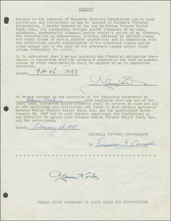 GLENN FORD - DOCUMENT DOUBLE SIGNED 02/25/1947