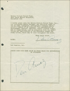 Autographs: DESI ARNAZ SR. - DOCUMENT DOUBLE SIGNED CIRCA 1946