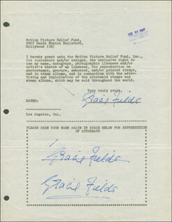 GRACIE FIELDS - DOCUMENT MULTI-SIGNED 02/21/1947