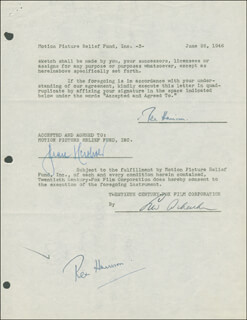 REX HARRISON - DOCUMENT DOUBLE SIGNED 06/26/1946