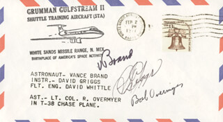 S. DAVID GRIGGS - COMMEMORATIVE ENVELOPE SIGNED CO-SIGNED BY: COLONEL ROBERT OVERMYER, VANCE BRAND