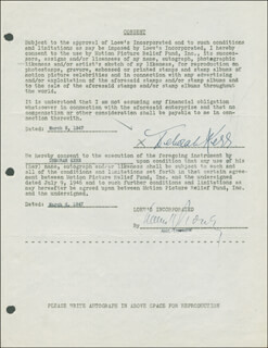 DEBORAH KERR - DOCUMENT SIGNED 03/05/1947