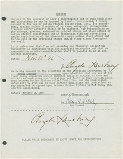 ANGELA LANSBURY - DOCUMENT DOUBLE SIGNED 11/13/1946
