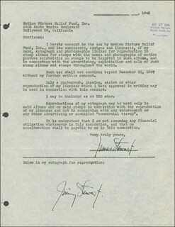 JAMES JIMMY STEWART - DOCUMENT DOUBLE SIGNED 09/27/1946