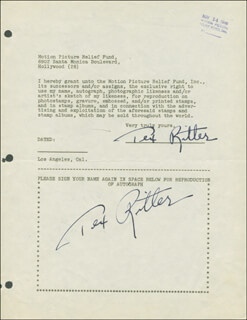 TEX RITTER - DOCUMENT DOUBLE SIGNED 11/14/1946