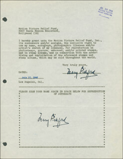 MARY PICKFORD - DOCUMENT DOUBLE SIGNED 07/17/1946