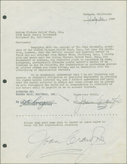 JOAN CRAWFORD - DOCUMENT DOUBLE SIGNED 07/24/1946