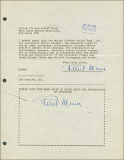 PAUL MUNI - DOCUMENT DOUBLE SIGNED 09/25/1946
