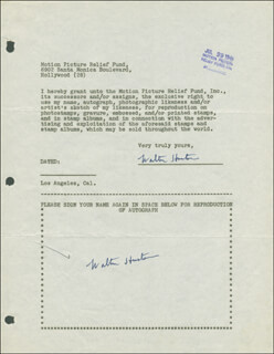 WALTER HUSTON - DOCUMENT DOUBLE SIGNED 07/29/1946