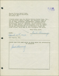 JACK BENNY - DOCUMENT DOUBLE SIGNED 04/02/1947