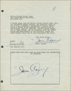 JAMES CAGNEY - DOCUMENT DOUBLE SIGNED 07/11/1946