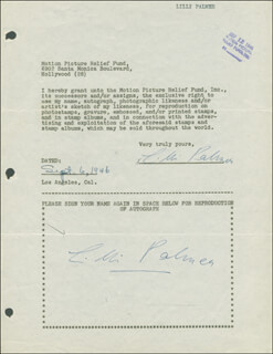 LILLI PALMER - DOCUMENT DOUBLE SIGNED 09/02/1946