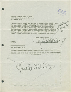 CLAUDETTE COLBERT - DOCUMENT DOUBLE SIGNED 09/06/1946