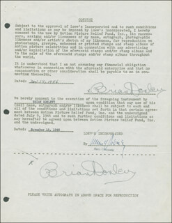 BRIAN DONLEVY - DOCUMENT DOUBLE SIGNED 11/14/1946