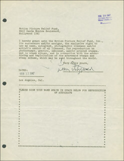 BARRY FITZGERALD - DOCUMENT SIGNED 02/12/1947