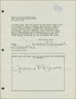 GERALDINE FITZGERALD - DOCUMENT DOUBLE SIGNED 08/20/1946