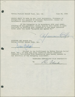 MAUREEN O'HARA - DOCUMENT SIGNED 06/26/1946