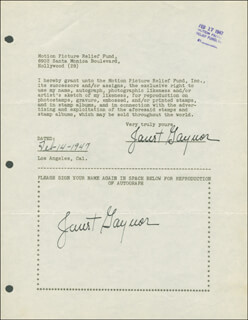 JANET GAYNOR - DOCUMENT DOUBLE SIGNED 02/14/1947