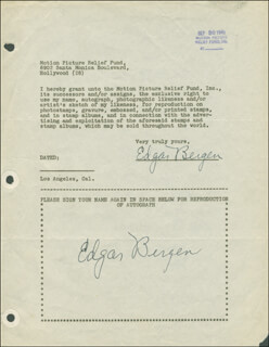 EDGAR BERGEN - DOCUMENT DOUBLE SIGNED 09/30/1946