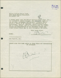 LAURENCE OLIVIER - DOCUMENT DOUBLE SIGNED 04/09/1947