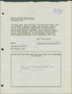 JANE DARWELL - DOCUMENT DOUBLE SIGNED 07/18/1946