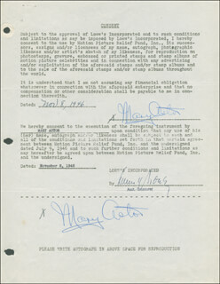 Autographs: MARY ASTOR - DOCUMENT DOUBLE SIGNED 11/08/1946